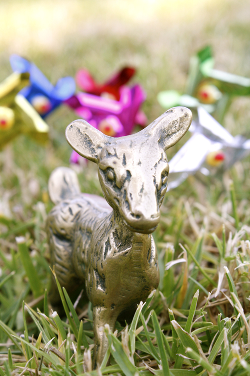 Deer with pinwheels