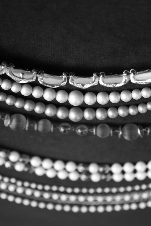 Antique black and white necklaces