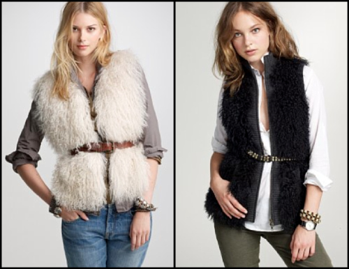 J.Crew fur vests