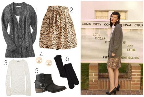 cardigan + skirt